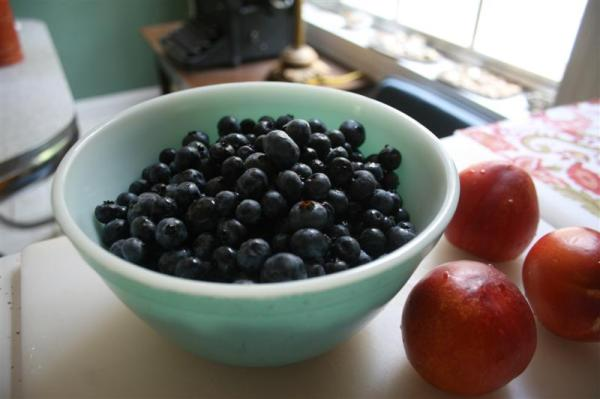 Blueberries and nectarines